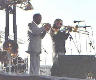Clark Terry & Bob Brookmeyer at the Clearwater Jazz Festival in the 1980s by Laura Kolb @ Lochaven